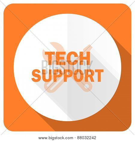 technical support orange flat icon