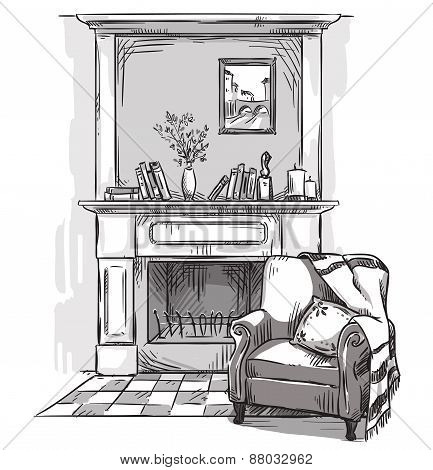 Hand drawn fireplace and an armchair. A cozy place at home
