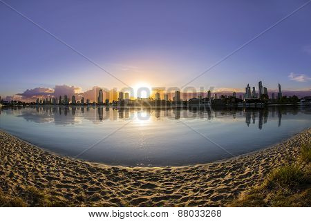 Fisheye view of sunrise over Gold Coast Australia cityscape