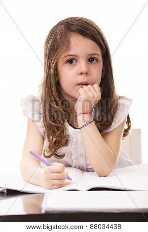 Thinking Girl In Kindergarten
