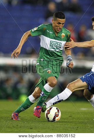 BARCELONA - APRIL, 6: Faycal Fajr of Elche CF during a Spanish League match against RCD Espanyol at the Estadi Cornella on April 6, 2015 in Barcelona, Spain