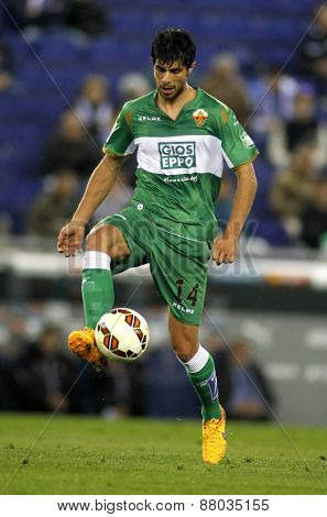 BARCELONA - APRIL, 6: Jose Angel Alonso of Elche CF during a Spanish League match against RCD Espanyol at the Estadi Cornella on April 6, 2015 in Barcelona, Spain