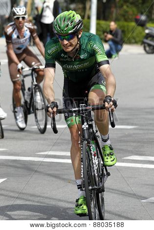 BARCELONA - MARCH, 29: Romain Sicard of Europcar Team rides during the Tour of Catalonia cycling race through the streets of Monjuich mountain in Barcelona on March 29, 2015