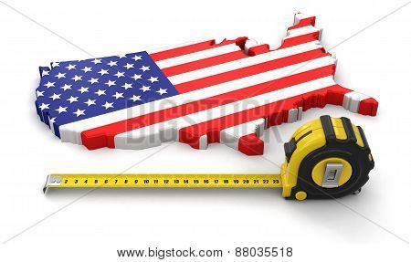 Map of USA with ruler (clipping path included)