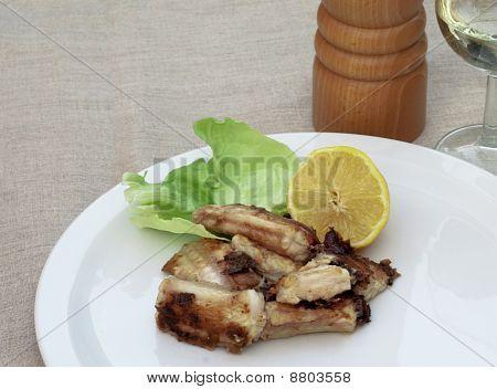Meal of fried sea eel