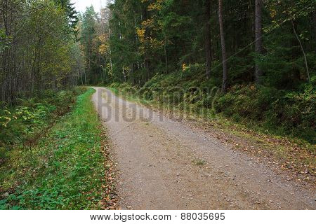 Rural small gravel road in finland