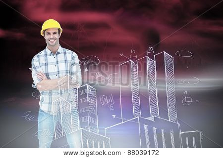 Architect standing over white background against stormy sky with tornado over road