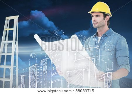 Architect holding blueprint in house against green field under blue sky