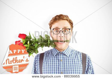 Geeky hipster biting a bunch of roses against mothers day greeting
