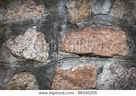 Wall. Natural Granite Stone Texture Background. Rough And Rusty.