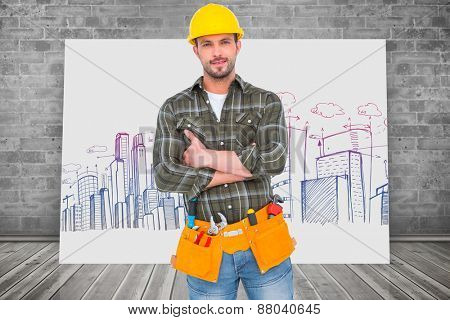 Manual worker with tool belt against composite image of white card