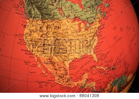 USA on Terrestrial Globe