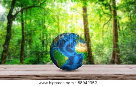 Earth on wood table  (Elements of this image furnished by NASA)