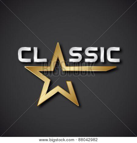 vector classic golden star inscription icon