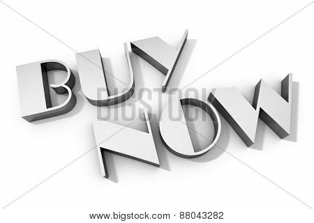 3D Rendering Of Buy Now Text On White Background With Shadow