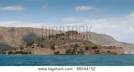 Island Of Spinalonga In The Gulf Of Elounda  Town In  Crete, Greece