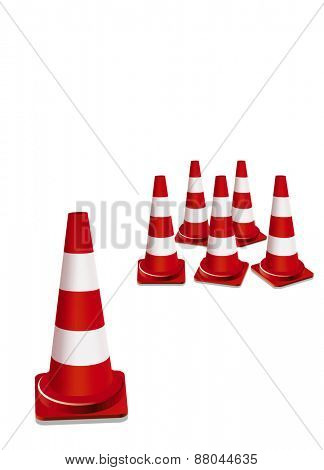 red traffic cones illustration