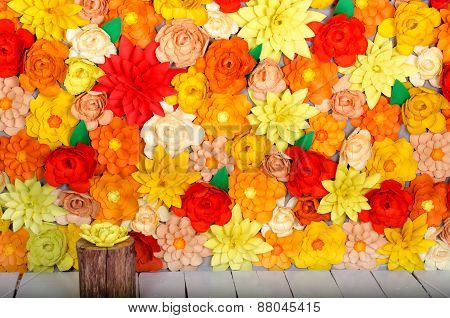 Origami. Colored Background, Flowers Made Of Paper