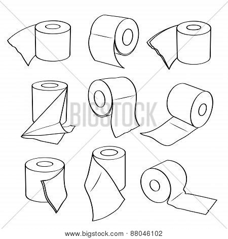 Simple set icons of toilet paper rolls.