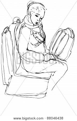 Sketch Of A Woman With A Bag Sitting On The Buss