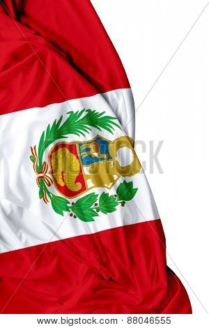 Peruvian waving flag on white background