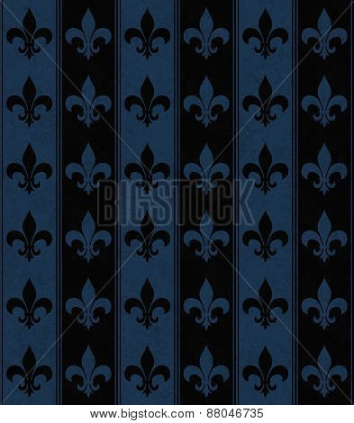 Black And Navy Blue Fleur De Lis Textured Fabric Background