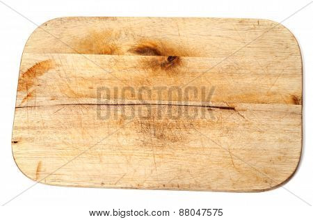 Old Wooden Kitchen Board On White Background