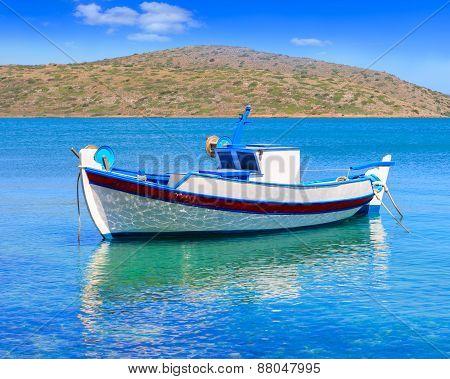 Fishing Boat Off The Coast Of Crete, Greece