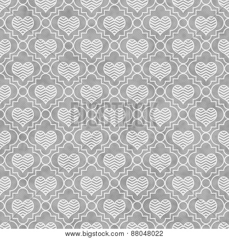 Gray And White Chevron Hearts Tile Pattern Repeat Background