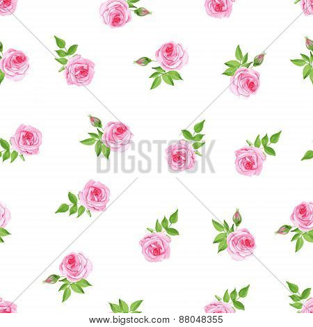 Delicate Roses Watercolor Seamless Vector Print