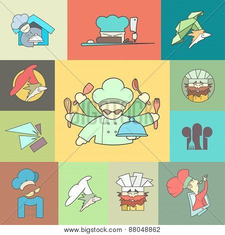 Restaurant Chef flat logo or icon Set. Vector Illustration, Graphic Design
