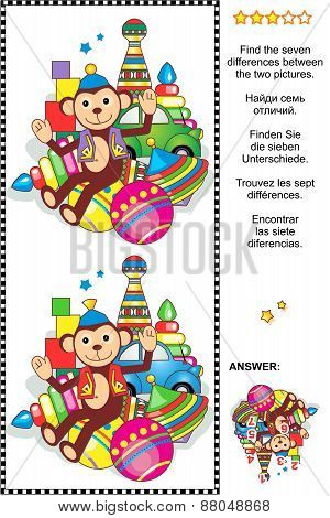 Find the differences visual puzzle - retro toys