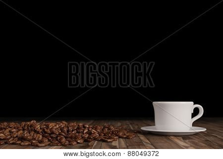 Coffee beans with fresh coffee in a white cup in front of black background (3D Rendering)
