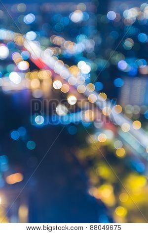 Abstract blur bokeh background of Bangkok main bridge across river