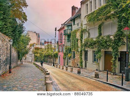 Street In Montmartre, Paris, In The Evening