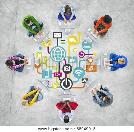 Global Communications Social Computer Networking People Online Concept