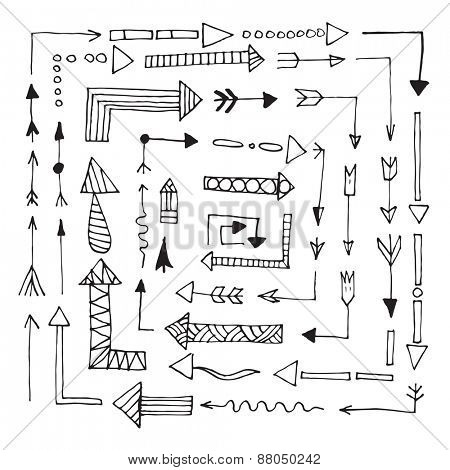 Hand drawn arrows set isolated on white background Vector illustration