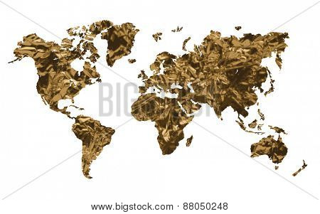 Gold world map isolated on white background Vector illustration