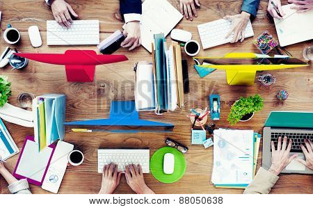 Group of Business People Working Contemporary Project Concept