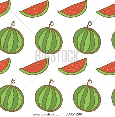 Seamless backgrounds with hand drawn watermelons