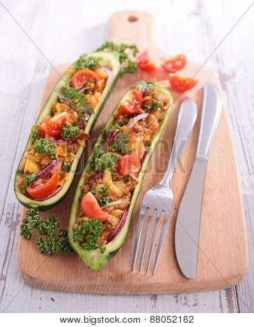 baked zucchini with vegetables
