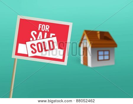 Digitally generated For sale sign and house vector