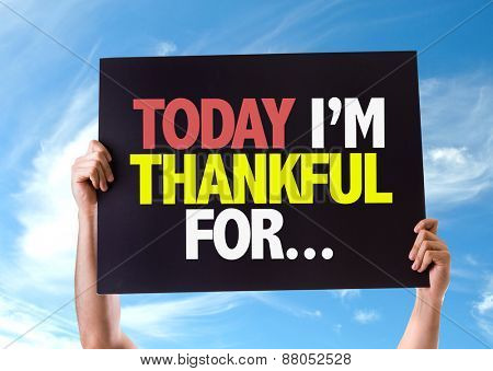 Today Im Thankful For... card with sky background