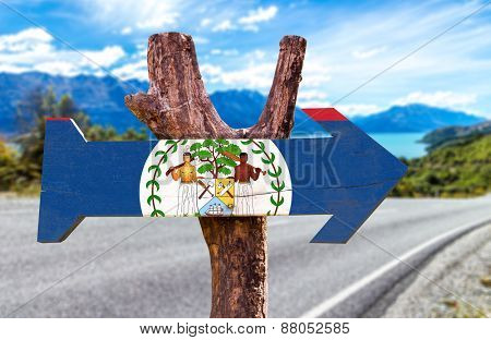 Belize Flag wooden sign with road background