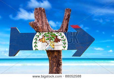 Belize Flag wooden sign with beach background