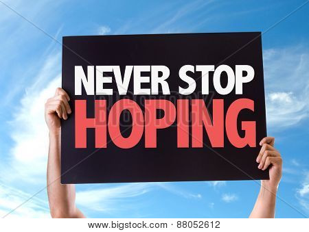 Never Stop Hoping card with sky background