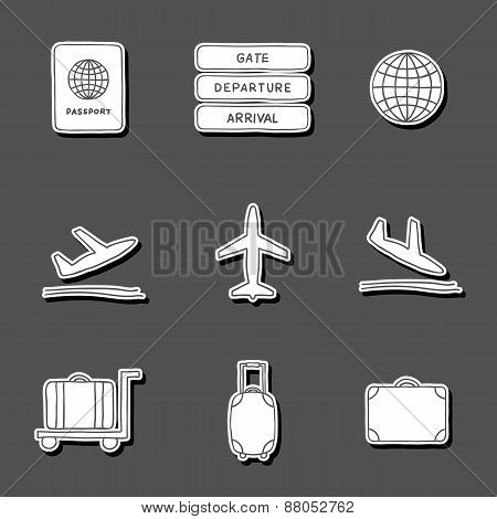 Set of hand drawn airport stickers