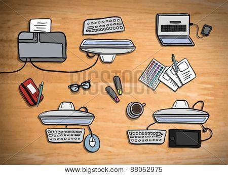 Digitally generated Overhead of office desks vector