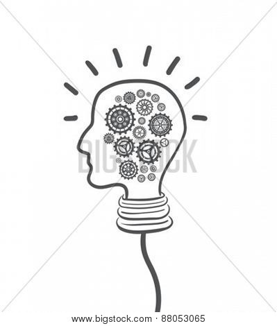 Digitally generated Cogs and wheels in light bulb head