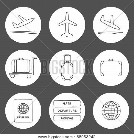 Set of hand drawn airport icons
